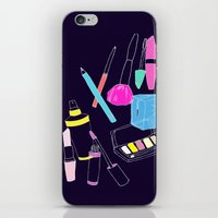 makeup iPhone & iPod Skins featuring Retro Makeup by minniemorrisart