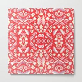 Folk art Flowers Red and Pink Metal Print