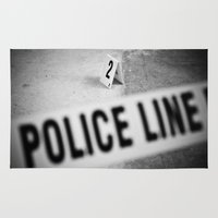 police Area & Throw Rugs featuring Police Line by GF Fine Art Photography