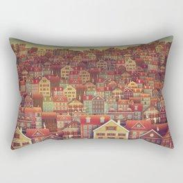 Cute City Street Scene ,Many Houses Rectangular Pillow