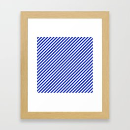 Small Cobalt Blue and White Candy Cane Stripe Framed Art Print