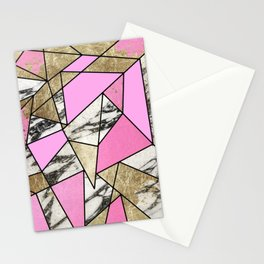 Girly Pink Geometric Gold and Modern Marble Stationery Cards