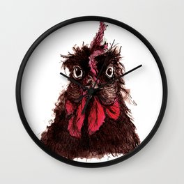 """Ink study of hen: """"Patricia"""" Wall Clock"""