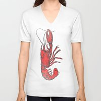 lobster V-neck T-shirts featuring Lobster by Carl Christensen