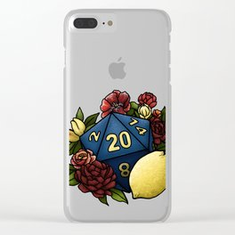 Marsala Lemon D20 Tabletop RPG Gaming Dice Clear iPhone Case