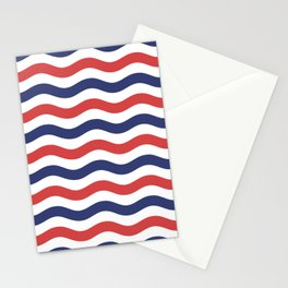 Nautical Waves Red and Blue Waves Stationery Cards