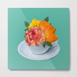 Floral Teatime Metal Print