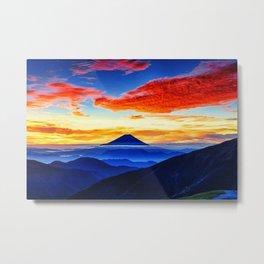 Mount Fuji Japan Sunrise Sky Metal Print