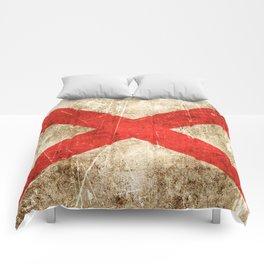 Vintage Aged and Scratched Alabama Flag Comforters