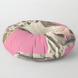 Cute Cow Art, Colorful Flower Crown Cow Art Floor Pillow