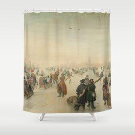 Winter landscape at a city - Hendrick Avercamp (1620) Shower Curtain