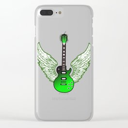 """When """"No Music No Life"""" Tee """" With A Creative Illustration Of An Green Electric Guitar T-shirt Clear iPhone Case"""