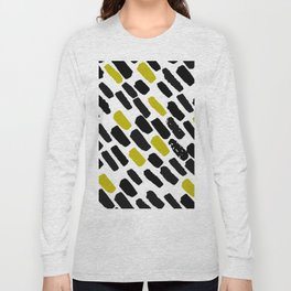 Oblique dots black and white olive Long Sleeve T-shirt