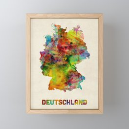 Germany Watercolor Map (Deutschland) Framed Mini Art Print