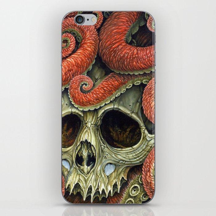orange tentacles skull iPhone Skin