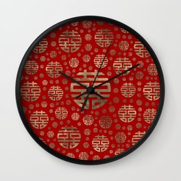 Double Happiness Symbol pattern - Gold on red Wall Clock