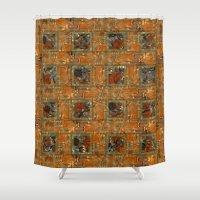 floral pattern Shower Curtains featuring Floral pattern by dominiquelandau