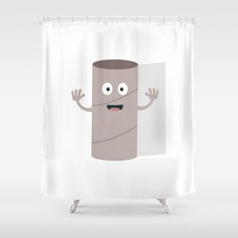 Empty Toilet paper roll with face Shower Curtain