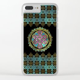 Endless Knot in Mandala Lotus shape Clear iPhone Case