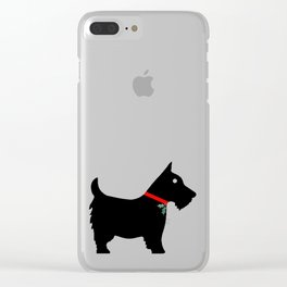 Black Scottiedog Scottish Terrier with Christmas Holly Clear iPhone Case