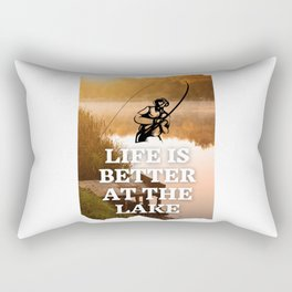 Life is better at the lake - Fish Quote Rectangular Pillow