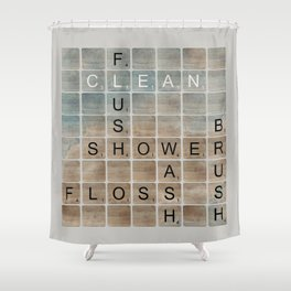 Bathroom 'Scrabble' Letters Shower Curtain