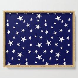 Stars - White on Dark Royal Blue Serving Tray