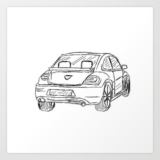 Car Sketch Art Print