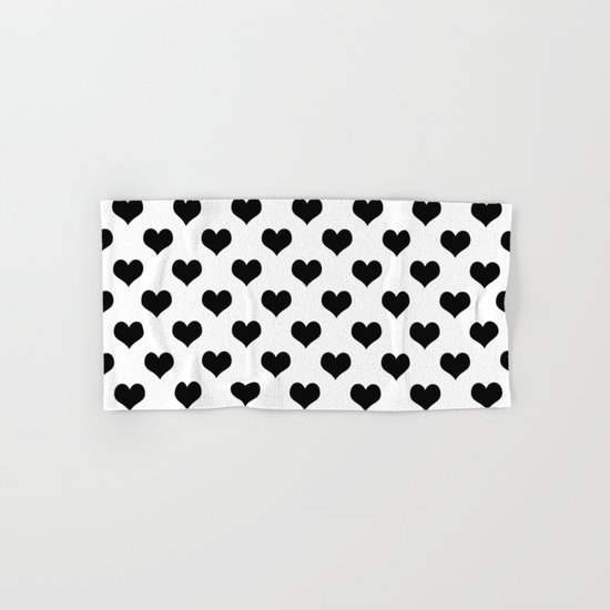 White Black Hearts Minimalist Hand & Bath Towel