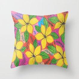 Tropical Plumeria Flowers Throw Pillow