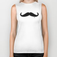 mustache Biker Tanks featuring Mustache by Macrobioticos