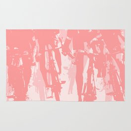 Cyclists in the sprint pink Rug