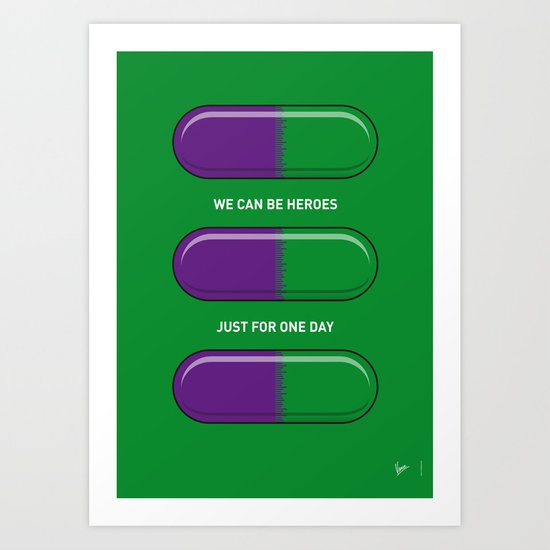 My SUPERHERO PILLS - The Hulk Art Print