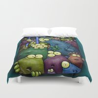 aliens Duvet Covers featuring Crowded Aliens by Billy Allison