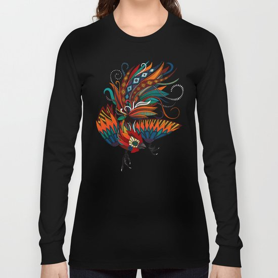 rooster ink green Long Sleeve T-shirt