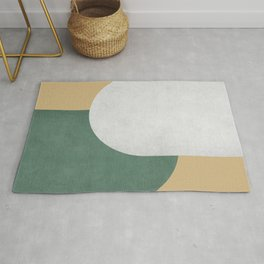 Halfmoon Colorblock - White Green on Gold Rug