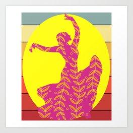 Flamenco Floral Sun Retro Art Print