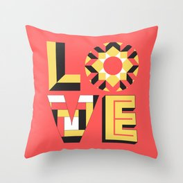 LOVE - Coral Throw Pillow