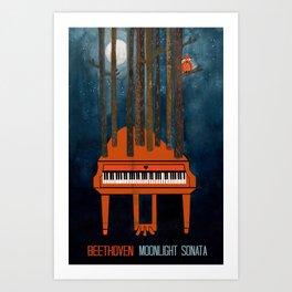 Moonlight Sonata - Beethoven Art Print