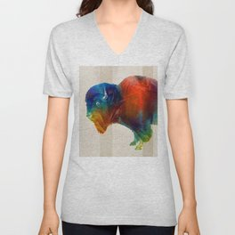 Buffalo Animal Print - Wild Bill - By Sharon Cummings Unisex V-Neck