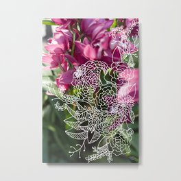 Pink & White Florals Metal Print