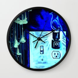 BLUE CANARY IN THE OUTLET BY THE LIGHTSWITCH Wall Clock