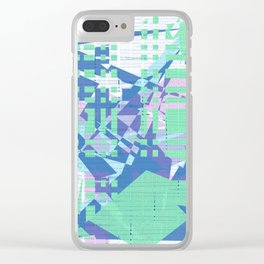Random green, pink and blue shapes on white messy blue lines wall Clear iPhone Case