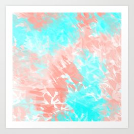 Artsy Modern Coral Cyan Abstract Art Art Print