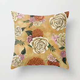 Gold luxury floral Throw Pillow