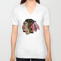 blackhawks V-neck T-shirts featuring Blackhawks Inspired D Rose by beejammerican