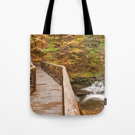 Autumn Boardwalk Bridge Tote Bag
