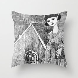 Girl on the top of her house. Throw Pillow