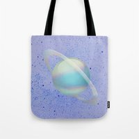 hologram Tote Bags featuring Holographic Saturn by trendmae