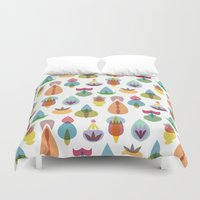 vector Duvet Covers featuring Vector Garden by Michal Gorelick